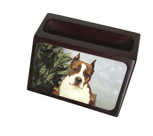Dog Business Card Holder Quality Cherry Wood Veterinarian Hospital Pet Groomer