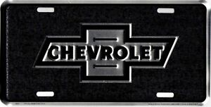 Chevrolet Bowtie Black Metal License Plate