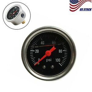 Black 0 100 Psi Adjustable Fuel Pressure Regulator Gauge Universal