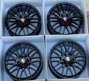 20 Porsche Cayenne Rs Spyder Factory Oem Black Wheels Rims Set Of 4