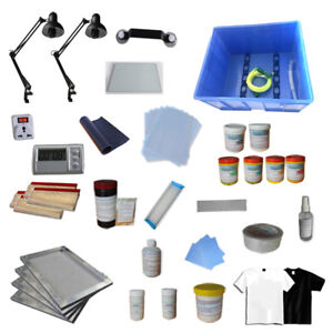 Screen Printing Materials Kit All Silk Screen Ink Squeegee Screen Frame Set New