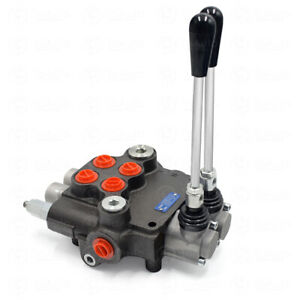 2 Spool Manual Hydraulic Directional Control Valve Joystick Adjustable Pressure