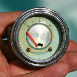 Stewart Warner Vintage Twin Blue 12v Water Temperature Gauge