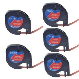 5pk Black On Red Tape Label For Dymo Letra Tag Lablemaker Lt 91333 12mm 1 2