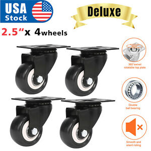 4 Pack 2 5 Swivel Caster Wheels Rubber Base With Top Plate Bearing Heavy Duty
