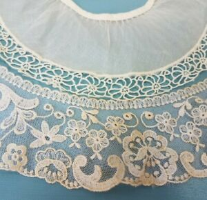 Antique Lace Collar Lot For Doll Dress Or Hat Bonnet Trim Edging Embroidered Net