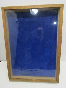 Old Wood wooden Large Glass Jewelry Display Case