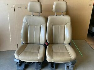 Ford F250 F350 Superduty Lariat Front Leather Bucket Seats Tan Heat And Cooled