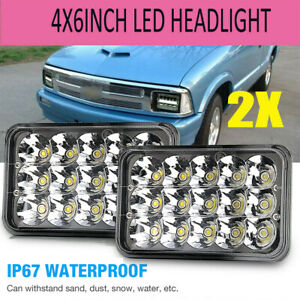 Pair 4x6 Square Led 5d Headlights High Low Beam Drl For Chevrolet S10 1995 1997