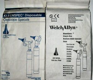 Welch Allyn Lot 0f 2 Universal Single use Specula Med lg 4 5mm Adult Tip 1000ct