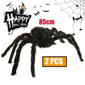 2X Giant Spider Web Plush Scary Large Spider Halloween Party Decor Outdoor Yard