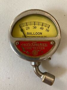 Vintage Moto Meter Balloon Tire Pressure Tester With Original Leather Case
