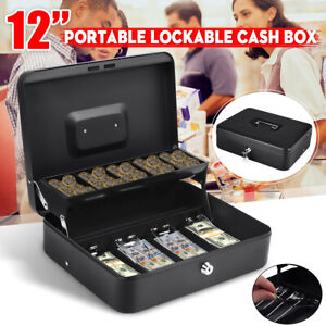 Portable Security Lockable Cash Box Tiered Tray Money Drawer Safe Storage C