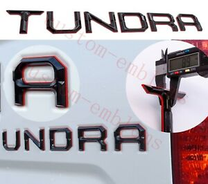 Double Layer Tailgate Insert Letters Fits 2014 2021 Toyota Tundra Black Red