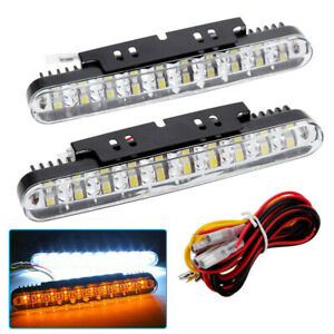2x 30 Led Car Daytime Running Light Drl Driving Turn Signal Fog Lamp White Amber