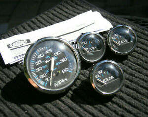 Faria Marine Vintage Gauge Set Speedometer 2 Voltmeters Water Temperature