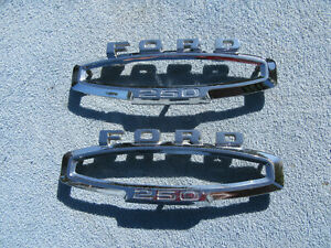 1965 1966 Ford F250 Side Fender Emblems Trim Bezels