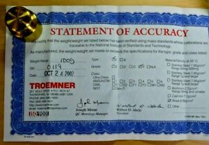 100g Troemner Calibration Brass Type 1 Weight With Statement Of Accuracy