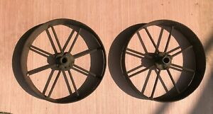 2 Antique Industrial Cart Cast Iron Spoked Wheels 9 3 4 Diameter X 2 W axle