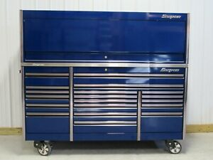 Snap On Midnight Blue 84 Epiq Tool Box Stainless Steel Power Top Hutch