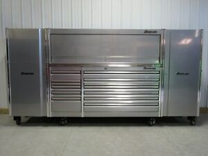 Snap On Liquid Silver 84 Epiq Tool Box Stainless Top Hutch 2 X Side Lockers