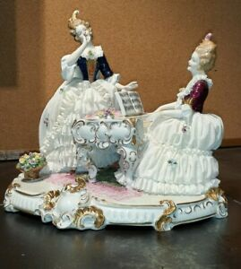 Large Unterweissbach German Porcelain Lace Figurine Two Ladies At A Piano