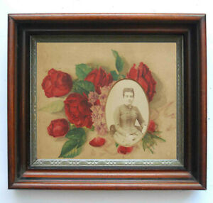 Victorian Mourning Memorial Shadowbox Frame Floral Chromolithograph Cabinet Card