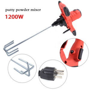 Electric Mortar Mixer 1200w Dual High Low Gear Variable Speed Paint Cement Grout