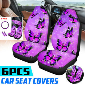 6pcs Universal Car Seat Covers Full Set Purple Butterfly Steering Wheel Cover