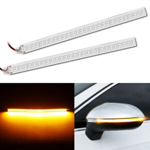 Car Rearview Mirror 28smd Bright Led Strip Flowing Turn Signal Side Light Amber