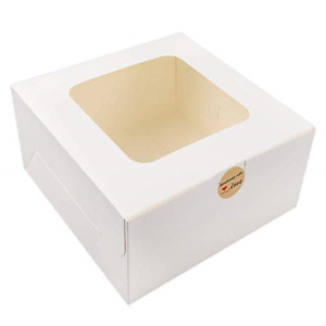 Moretoes 24pcs 10x10x5 Inches White Bakery Boxes With Window Cake Box For Pie