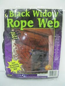 Halloween Black Widow Giant Spider Web Indoor Outdoor Nylon Fabric 5#x27; Feet