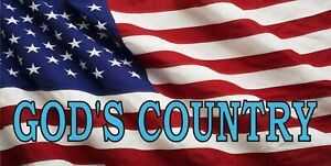 God s Country On American Flag Photo License Plate