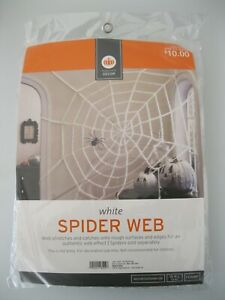 Halloween White Giant Spider Web Indoor Outdoor Nylon Fabric 10#x27; Feet