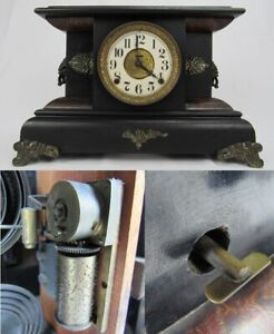 Ultra Rare Seth Thomas Mantel Clock Built In Music Box Antique Musical 1 In 10k