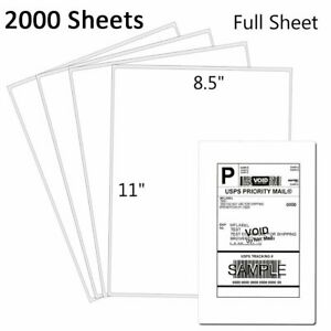 2000 Full Sheet Shipping Labels 8 5 x11 Self Adhesive For Laser Inkjet Printer