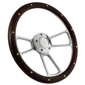 14 Steering Wheel Polished Billet Mahogany For 1949 1991 Ford Pick Up s