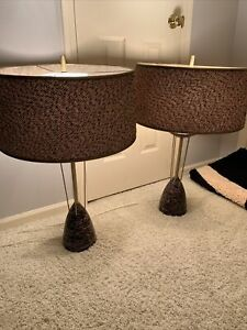 Pair Mid Century Modern Table Lamps W Matching Shades Pink Black Awesome Set