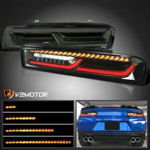 For 2016 2018 Chevy Camaro Smoke Tail Lights W Led Drl sequential Signal Strip