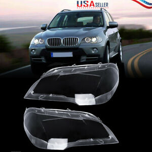Us For Bmw X5 E70 2008 13 Pair Left Right Headlight Cover Lamp Lens Lampshade