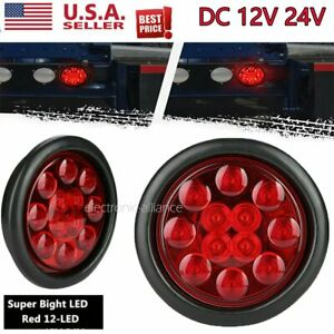 4inch Round Red 12 Led Truck Rv Trailer Brake Stop Turn Signal Tail Lights