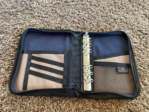 Compact Sport Planner Binder 1 Rings Franklin Covey Blue Tan Canvas Handle