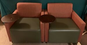 2 Vtg Brayton International Club Chairs With Tablet Table Reed Smith Bar Lounge
