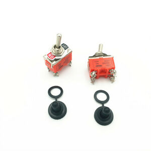 2sets Latching Toggle Switch 1221 4 pin 2 Position On off Dpst 15a 250vac W Cap