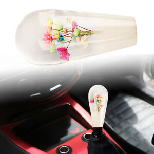 Jdm Clear Crystal Real Flowers Head Racing Gear Shift Knob For Mt Manual
