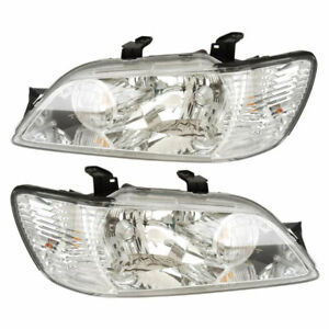 For Mitsubishi Lancer 2002 2003 Pair New Left Right Headlight Assembly