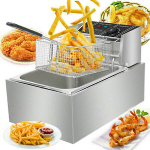2500w 6l Commercial Electric Countertop Deep Fryer Stainless Steel Home Basket