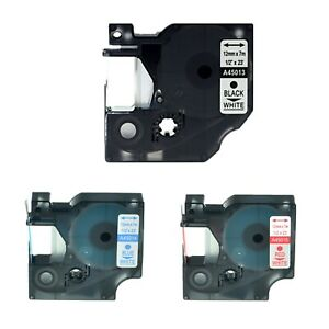 3pk 45013 45014 45015 Label Tape For Dymo Labelmanager 350d 360d 120p 1 2 12mm