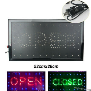 Bright Flashing Led Neon Shop Bar Business Open Closed Sign Board Light W On off