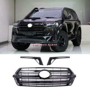 For Toyota Land Cruiser Lc200 2016 2020 Glossy Black Front Bumper Grille Grilles